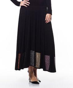 00c0554e469 Black Sequin-Trim Maxi Skirt - Plus  zulilyfinds
