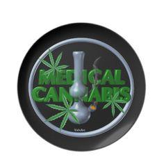 Valxart Medical cannabis/marijuana Dinner Plate  See more cannabis/marijuana art by Valxart.com at http://zazzle.com/valxartmedicalpot*