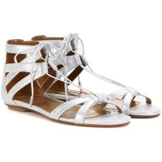 Aquazzura Beverly Hills Metallic Suede Sandals ($410) ❤ liked on Polyvore featuring shoes, sandals, silver, aquazzura, suede shoes, suede leather shoes, suede sandals and metallic shoes
