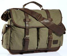 Premium Quality Multi-Compartment Canvas & Leather Messenger