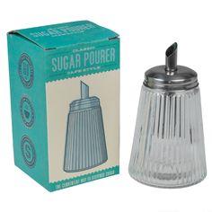 Sucrier vintage en verre transparent et métal esprit bistrot