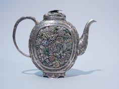 japanese sterling and enamel teapot