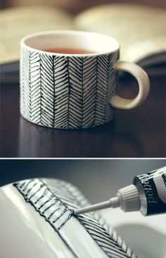 DIY patterned mug. This could also work on a vase, plate, canvas, picture frame, etc.
