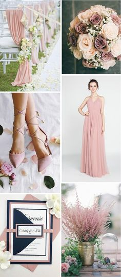 dusty rose wedding color inspiration with bridesmaid dress