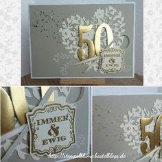 StampinUp!,Einladung zur goldenen Hochzeit, embossing, Thinlits Blühendes Herz, Framelits Große Zahlen...