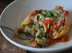 stuffed shells with kale and eggplant.  So healthy & sounds delish!