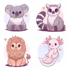 Kawaii Animal Stickers and/or Prints (6x6 or 8x8