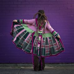 Pink and green tartan pixie coat