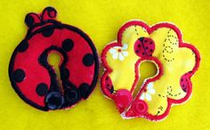 Lady Bug Belly Shape and Dos Button Cover Set for by aHaDesigns2, $5.00