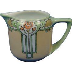 Rosenthal Selb Bavaria Arts & Crafts Rose Motif Pitcher/Creamer (c.1907-1940)