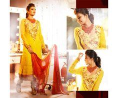 Yellow color Poly Georgette Salwar Kameez Suit.