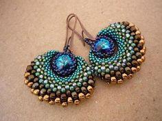 Earrings are made of Swarovski crystals, Japanese beads stmp. Miyuki and Toho, nickel-free jewelery hook, Fireline.so pretty Seed Bead Jewelry, Bead Jewellery, Seed Bead Earrings, Beaded Earrings, Beaded Jewelry, Handmade Jewelry, Seed Beads, Handmade Beads, Beaded Bracelets