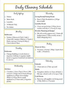 Cleaning schedule-if I could just get a couple of these checked off each day, I'd consider it a success.