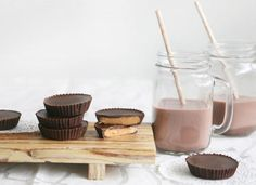 These homemade dark chocolate peanut butter cups are made with is made with fewer than four ingredients!
