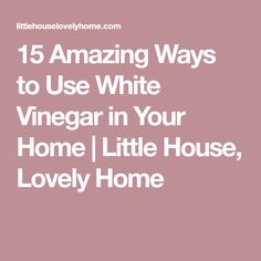 15 Amazing Ways to Use White Vinegar in Your Home   Little House, Lovely Home