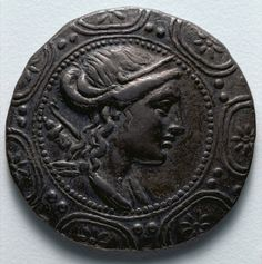 Tetradrachm: Macedonian Shield with Bust of Artemis (obverse), 158-149 BC  Macedonia, Northern Greece, , 2nd century BC  silver, Diameter: w. 3.2 cm (1 1/4 in)