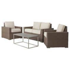 Threshold™ Heatherstone 4-piece Wicker Patio Conversation Set - Green