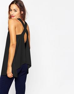 Asos Thick Strap Cami With Open Back Nice Topstop