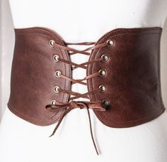 Brown lace up corset belt
