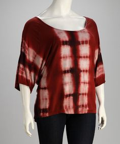 Take a look at this Rust Bamboo Tie-Dye Plus-Size Three-Quarter Sleeve Tunic by CottyOn on #zulily today!