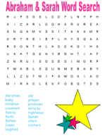 Abraham and Sarah Word Search - easy and difficult options, upper and lower case options, color and black & white options