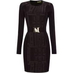 Versace Jeans Long sleeve belted print dress ($330) ❤ liked on Polyvore featuring dresses, black, women, belted dress, kohl dresses, versace dresses, black dress and pattern dress