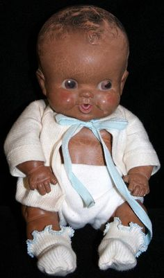 A most adorable rubber baby doll, Amosandra, from the radio program, Amos and Andy. I saved up, to buy from Montgomery Ward catalog. 1950