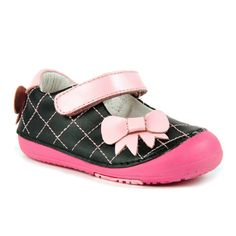 Momo Baby Girls Mary Jane Leather Shoes - Quilted Bow (First Walker & Toddler)