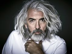 😎 New Shoot for Boris 😎 Silver Hair Men, Long Gray Hair, Men With Grey Hair, Badass Beard, Sexy Beard, Mens Evening Wear, Hair And Beard Styles, Long Hair Styles, Face Age