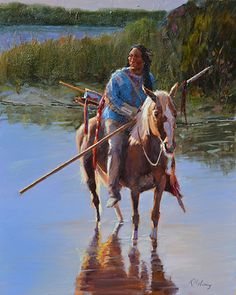 """""""Indian in the Water""""  30""""x 24"""" Oil by Kimbell McCurry, SOLD"""
