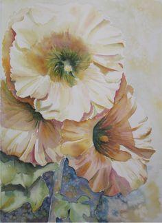 Hollyhock watercolor painting