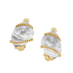 Pair of Rock Crystal and Gold Shell Earclips, Seaman Schepps The carved rock crystal shells tipped by polished gold balls, accented by rope-twist gold.