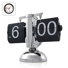 OFKP® Retro Modern Scale Auto Flip Single Metal Stand Desk Table Clock
