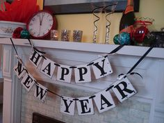 Happy NEW Year Banner New Years Eve Party Decorations Photo Prop-Holiday Garland Party Decor.