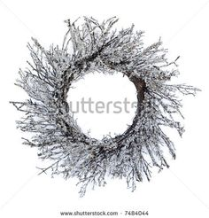 modern christmas wreath - isolated white