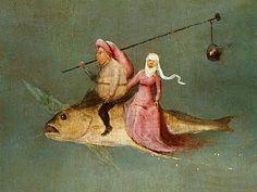 The artwork The Temptation of St. Anthony, right hand panel, detail of a couple riding a fish - Hieronymus Bosch we deliver as art print on canvas, poster, plate or finest hand made paper. Magritte, Temptation Of St Anthony, Kunst Online, Garden Of Earthly Delights, Dutch Painters, Medieval Art, Fish Art, Art Plastique, Haiku