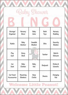 Baby Shower Bingo is played as mommy-to-be opens her gifts! Our popular pink and gray elephant baby shower theme is perfect for a baby girl shower. INSTANT DOWN