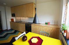 kitchen in 60s-building, linoleum, plywood
