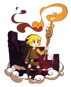Link --- I don't know what he's holding but this drawing looks cool