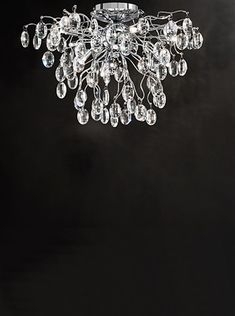 Wisteria > Franklite 60 x 8 light flush in chrome heavy crystal glass drops Lighting Solutions, Lighting Ideas, Modern Country Style, Light Project, Open Plan Living, Wisteria, Chrome Finish, Light Decorations, Chandelier