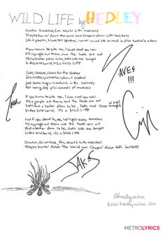 "Hedley's ""Wild Life"" Handwritten Lyrics"