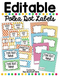 The Moffatt Girls: Editable Polka Dot Labels! Polka Dot Classroom, Classroom Labels, Classroom Organisation, Teacher Organization, Preschool Classroom, Future Classroom, Classroom Themes, Classroom Management, Kindergarten