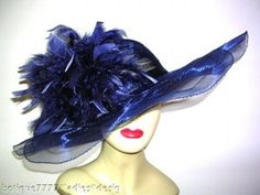 Blue Wide Brim Ascot Church Dress Millinery Derby Hats Navy Tea Hat