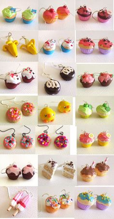 of different models and polymer clay / Fimo - Fimo - Polymer Clay Kunst, Cute Polymer Clay, Cute Clay, Polymer Clay Miniatures, Fimo Clay, Polymer Clay Projects, Polymer Clay Charms, Polymer Clay Creations, Polymer Clay Earrings