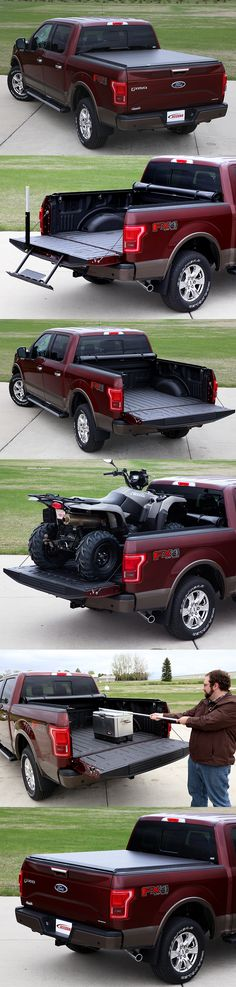 This 2015 Ford F-150 has an ACCESS® Limited Edition Roll-Up Cover. This tonneau cover includes several bonus accessories not available with other tonneau covers, including a cargo reacting tool and tie-down rings built into the clamps. This cover moves completely out of the way of large cargo, like an ATV, but quickly rolls down tight when needed.