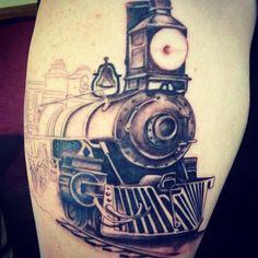 Progress Shot of Steam Train tattoo on Tom.. by Lenny.