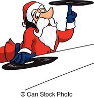 Dj Santa Claus on vinil records - Cartoon Dj Santa Claus...