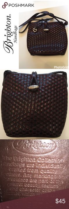 Brighton Chocolate Brown Leather Handbag Gorgeous Chocolate Brown Genuine Leather Handbag includes heart charm and dust bag Open to Offers Brighton Bags Shoulder Bags