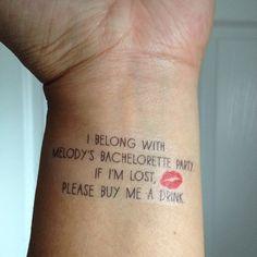 Bachelorette Tattoos, Buy Me A Shot & Bride Tattoo - Custom | As seen on Lauren Conrad #bachelorette #bachtattoo #bridaltattoo #tempbachtattoo #bacheloretteparty