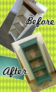 Decopauged fabric, turquoise distressed accent shelf.  Chalk paint and waxed!  Love!